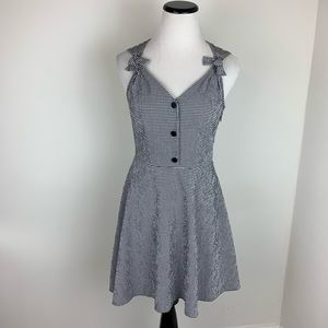 Topshop Gingham Fit and Flare Dress Black & White